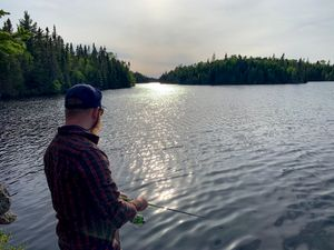 Fishing from camp