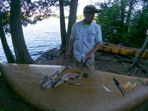 Filleting on the canoe