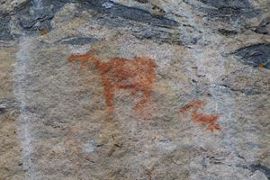 Pictograph - moose and pelican
