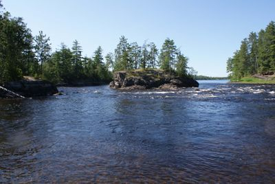Rapids at the end of the Ivy Falls portage, Namakan River