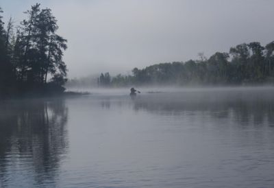 Into the fog, Threemile Lake