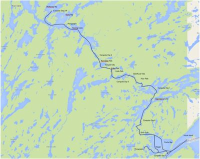 2013-09-02_001_Quetico Falls Chain- Route Map